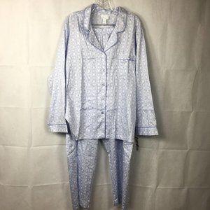 Charter Club Spa 2pc Pajama Set Blue Sz XXL